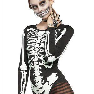Hot Topic Black Glow In The Dark Skeleton Bodysuit